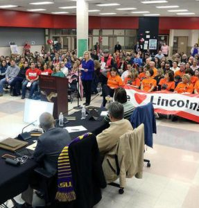 Tonia Khouri speaks on behalf of Lincoln Elementary
